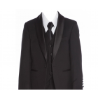 640 - Black Tailored Suit/Tuxedo.  Slim Fit.