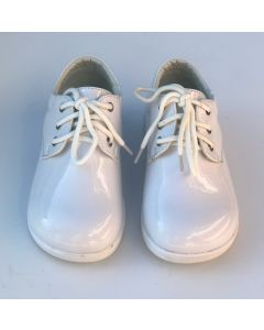 294 Boys Patent Leather White Shoes