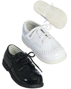 290 Boys Patent Leather Black and White Shoes
