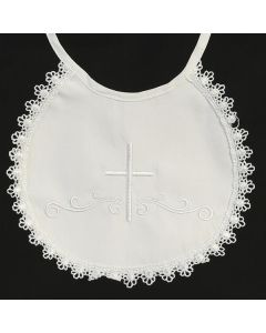 BB-2 - Cotton Bib With Cross and Lace Trim.