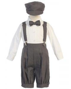 Charcoal Linen Suspender Set