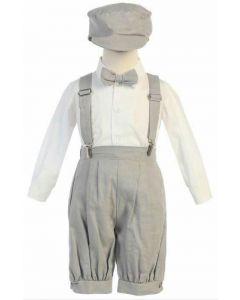 Light Grey Linen Suspender Set