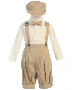 Tan Linen Suspender Set