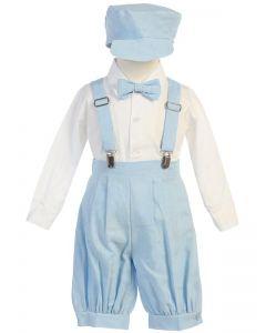 Light Blue Linen Suspender Set