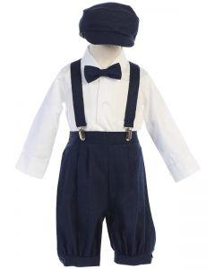 Navy Linen Suspender Set