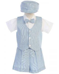 Light Blue Linen Vest Set
