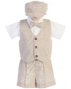 Tan Linen Vest Set