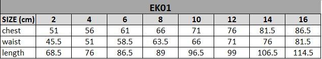 EK01 Size Chart
