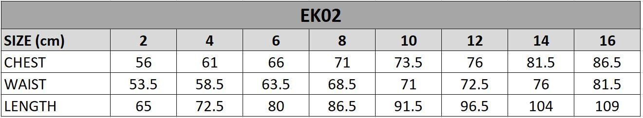 EK02 Size Chart
