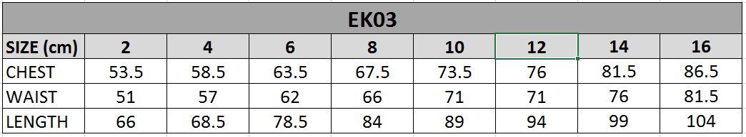 EK03 Size Chart