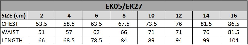 EK05 Size Chart
