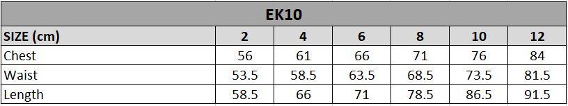EK10 Size chart
