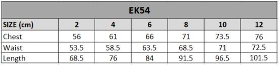 EK54 Size chart