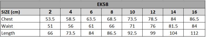 EK58 Size chart