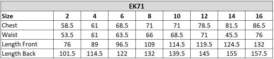 EK71 Size Chart